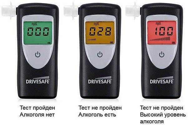 """Алкотестер """"Drivesafe 2"""" оснащен экраном, меняющим свою подсветку в зависимости от результата проверки"""